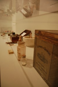 Preserved materials on display in the Dr. Sappington Memorial Building