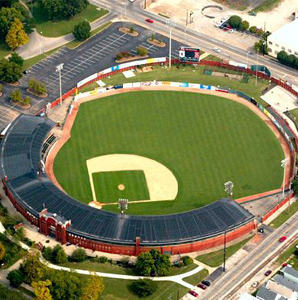 "Shown is an aerial view of Bosse Field located in Evansville, Indiana, where the majority of the baseball scenes in ""A League of Their Own"" was filmed. Bosse Field is the third-oldest baseball field still in the United States, behind Wrigley Field in Chicago and Fenway Park in Chicago. Photo courtesy of sluggermuseum.com."