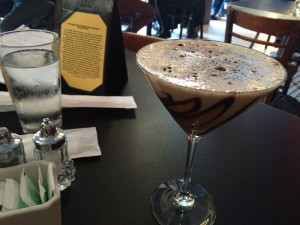 The Great Mississippi Mudslide martini. This drink features coffee liqueur, Irish cream and vanilla deluxe ice cream garnished with Oreos.
