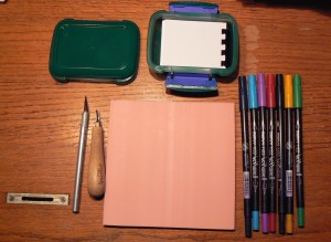 Tools for making a stamp.