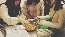 My Japanese friends Rina, Mei and Mizuki mixing up the guacamole for our Mexican night.