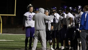 Wide receivers and tight ends receive instruction from coach Thomas Kearney during practice last week. The 'Dogs began spring practice last Tuesday and will host a spring scrimmage game April 11. Photo Credit: Trevor Stark