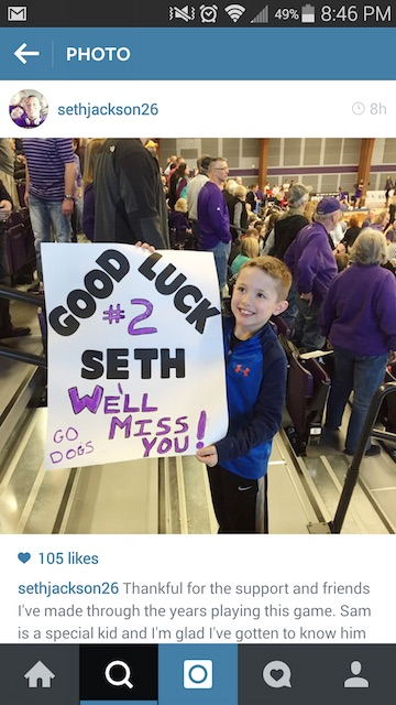 7yearold Sam Snyder poses in Pershing Arena with the sign he made for Jackson's senior game against University of MissouriSt. Louis last Saturday. Jackson is the leading scorer in the GLVC. Submitted Photo