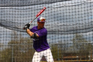 Senior Paul Trenhaile concentrates during batting practice last week. Trenhaile is thought to be a leader by his teammates on and off the field.