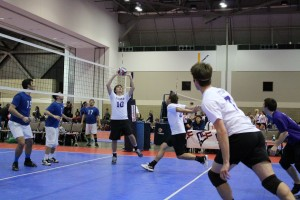 Senior George Nelson sets up for an assist to a teammate. The club volleyball team will begin competition Oct. 3  at Saint Louis University.