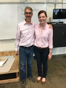 Graduate student Megan Petrie poses with music professor Mark Jennings in the exact same outfit.