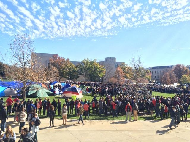 University of Missouri students rally on the Carnahan Quad after hearing news of President Tim Wolfe's resignation. Photos by Claudia Guthrie, reporter at the Columbia Missourian.