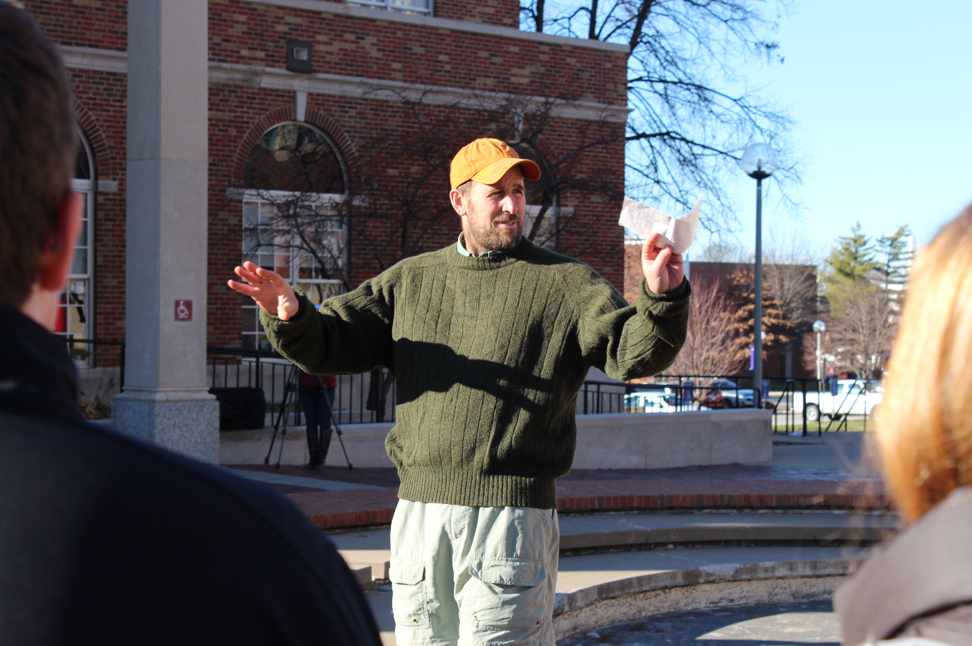 Ethan Hughes speaks prior to the march. Jonah McKeown/TMN Digital