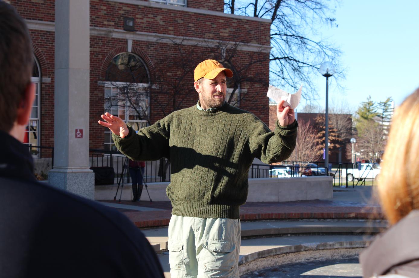 Ethan Hughes speaks prior to the march. Jonah McKeown/TMN Digital