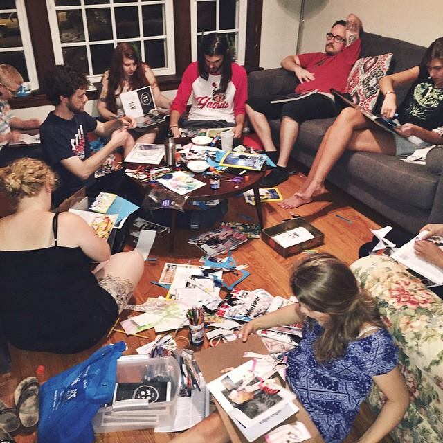 A group of alumni work on collaging the Moon Zine's pages. Source: @themoonzine on Instagram