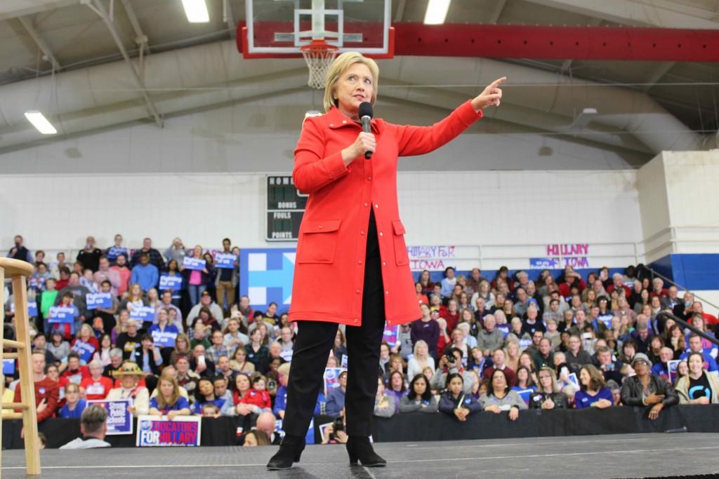 Hillary Clinton speaks to a crowd in Des Moines on Jan. 30. Photo by Austin Hornbostel/TMN.