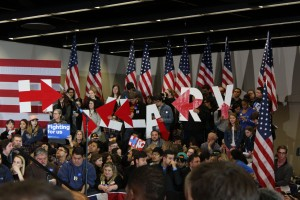 Clinton supporters await her arrival at Drake University. Jonah McKeown/TMN