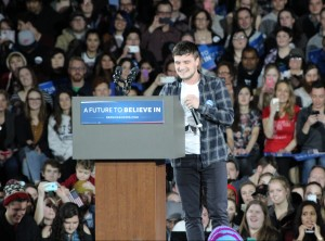 Josh Hutcherson, best known for the Hunger Games movie series, takes the stage to convince attendees of Bernie's viability as a candidate.