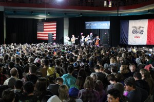 The opening band at the concert and rally sets the tone for an evening of music and politics.