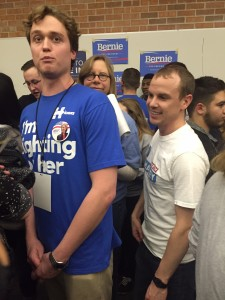 Brad Hopkins, O'Malley precinct leader wades through a crowd of uncommitted voters, trying to persuade them to join to O'Malley preference group. O'Malley's preference group ended up overpowering Hillary Clinton's.