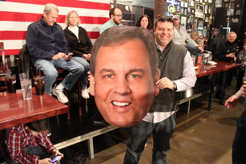 One rally attendee came sporting a massive cut-out of Christie's head, which was a hit among others in the crowd.