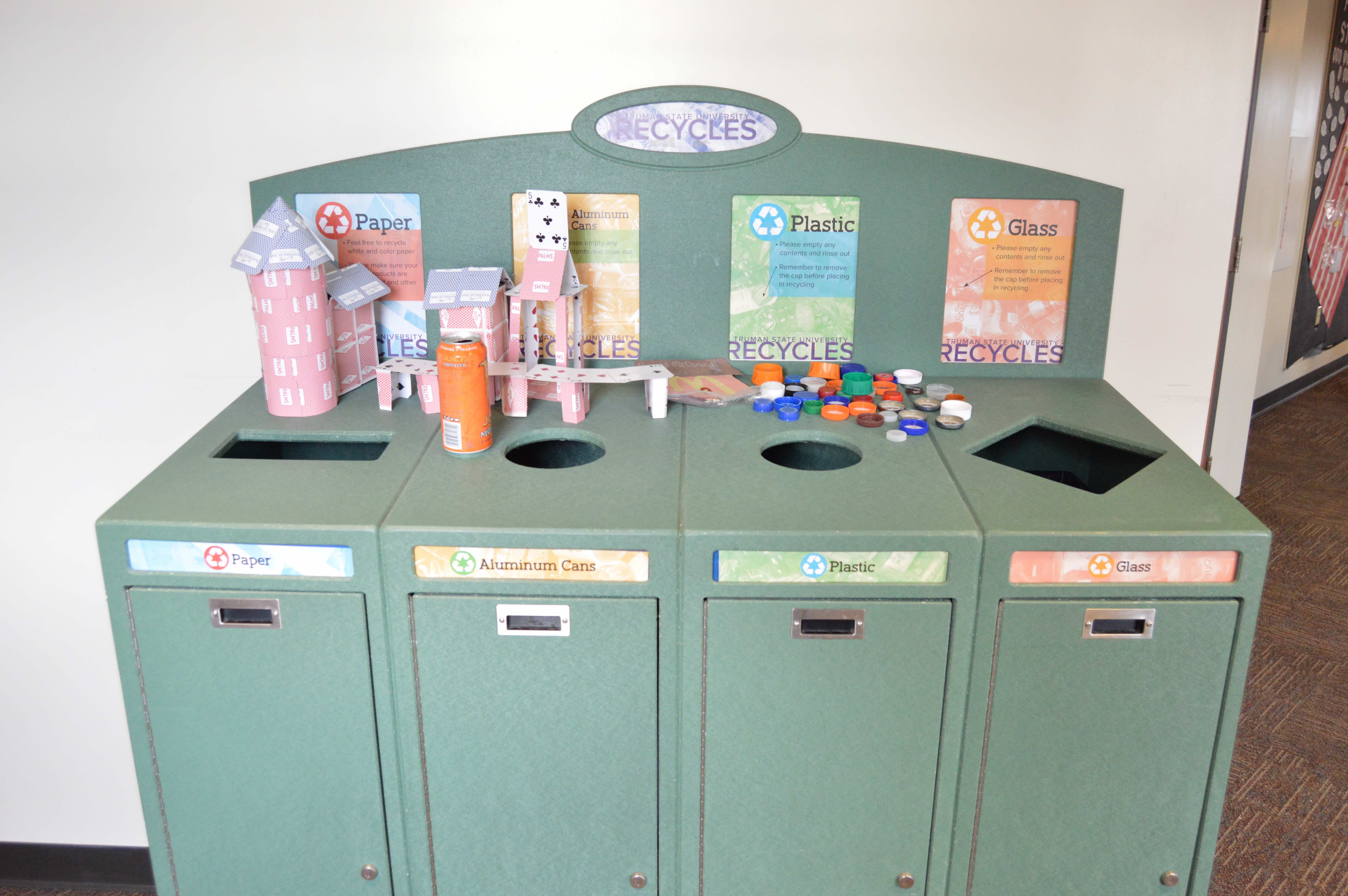 One of the many recycling structures in Truman State University's residence halls.