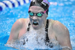 Freshman Laney Klar gasps for breath during one of her six events. Klar finished seventh in the 200 butterfly and the 400 individual medley events. Submitted photo