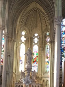 Each window of the cathedral is made of stained glass.