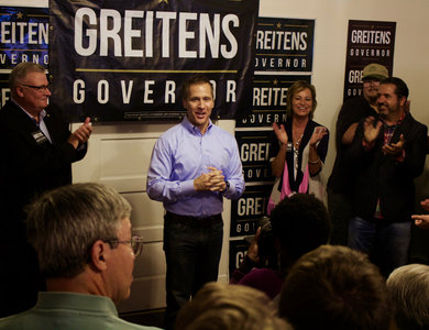 Eric Greitens greeted his political followers in Kirksville and promised to bring both beneficial economic and social changes to Missouri.