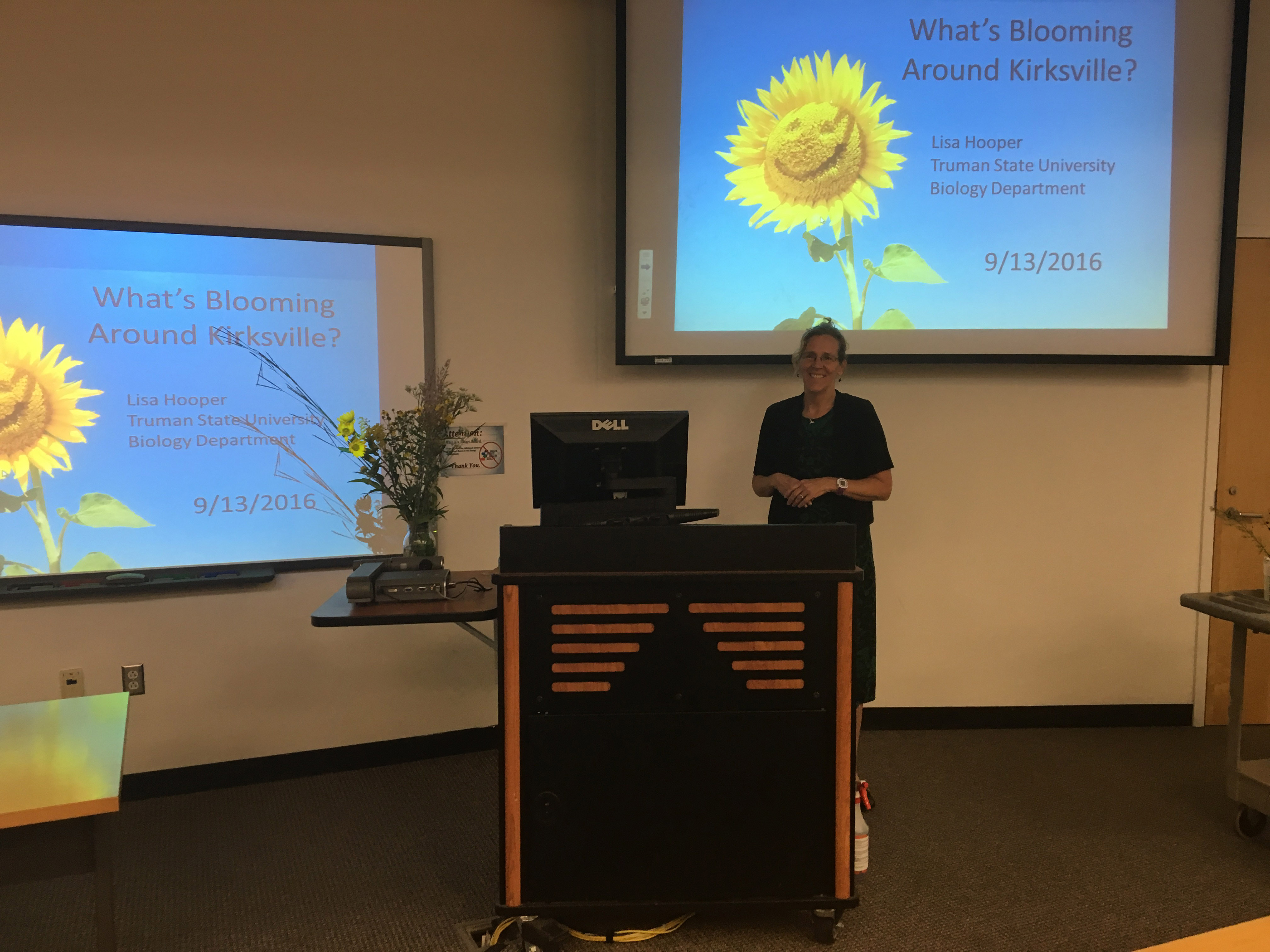 Biology professor Lisa Hooper kicks off the Natural History Club presentation series with a presentation about fall wildflowers. The informal presentation was the first in a series hosted by the club.