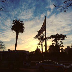 Plaza of Tres Cruzes at sunset.