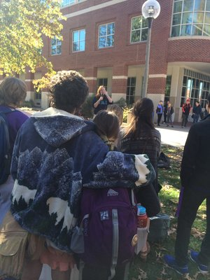 Truman students and Kirksville citizens gathered on the quad at noon to support their dissatisfaction with Trump winning the presidential election.