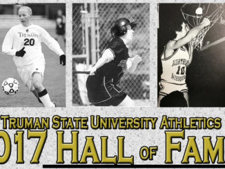 A picture of alumnae Elizabeth Economon and Sara Murray, the 2017 inductees into the Truman Athletics Hall of Fame.