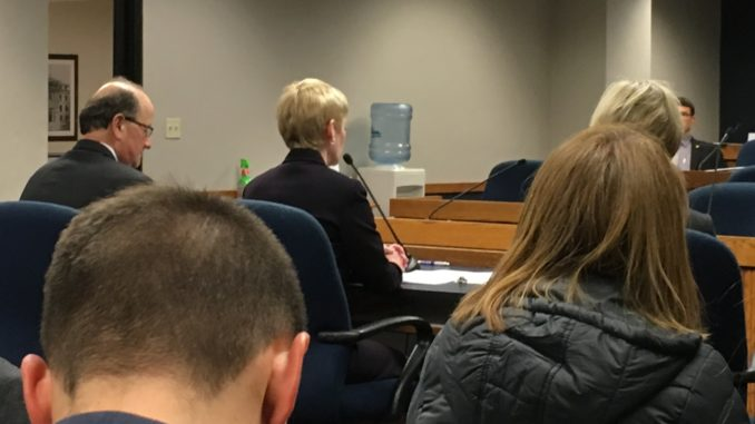 University President Sue Thomas speaking at a higher education budget hearing alongside Dave Rector, vice president for administration, finance and planning, and Janet Gooch, executive vice president for academic affairs and provost.