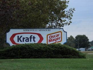 "A sign that reads ""KIRKSVILLE MISSOURI Kraft Oscar Meyer"" outside the Kraft Heinz facility in Kirksville."