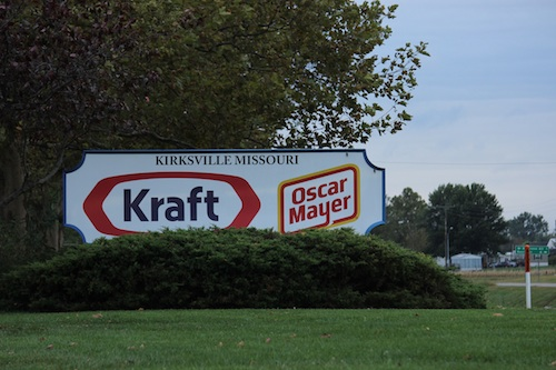 "A sign that reads ""KIRKSVILLE MISSOURI Kraft Oscar Meyer"" outside the Kraft Heinz facility in Kirksville."