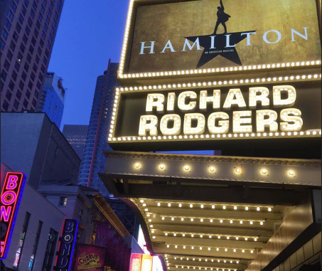 An upwards look at Richard Rodgers Theater.